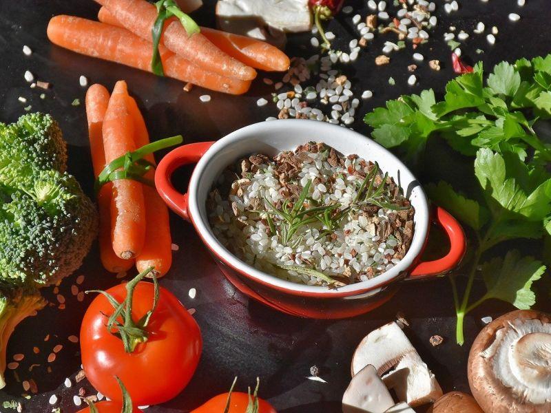pirinać, povrće, pečurke